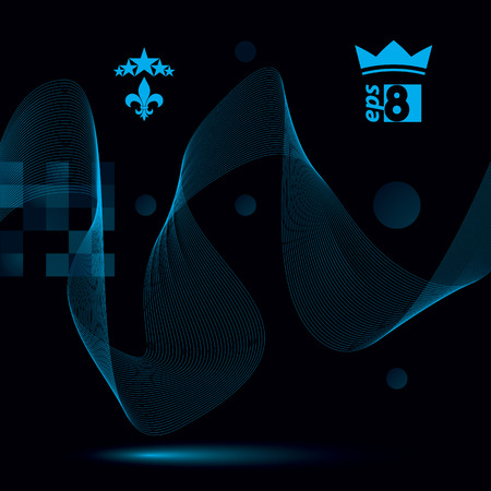 futuristic: Decorative wavy template, vector background with silky textile curves, dark motif 3d abstract backdrop.