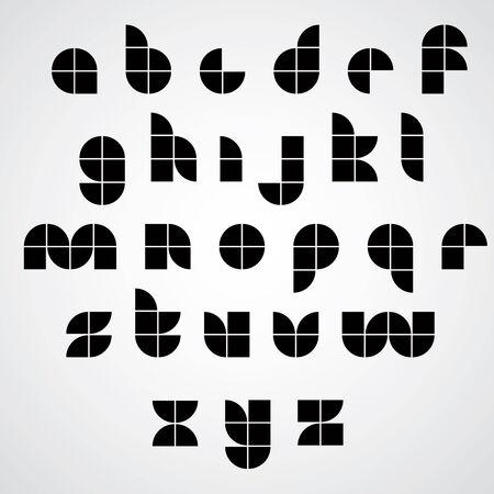 spherical: Monochrome black spherical sectored font.