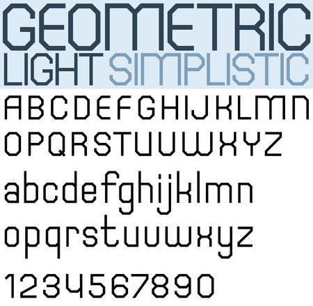 facet: Poster black geometric font and numbers, light facet letters. Illustration
