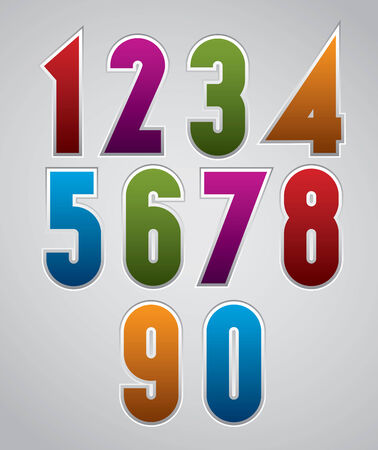 even: Colorful glossy decorative geometric numbers with white outline. Illustration