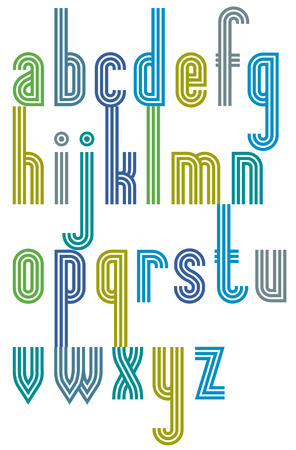 triple: Poster colorful striped font, cartoon lower case letters with triple lines. Illustration