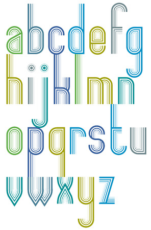 Advertising elegant bright striped font, lowercase letters with outline.
