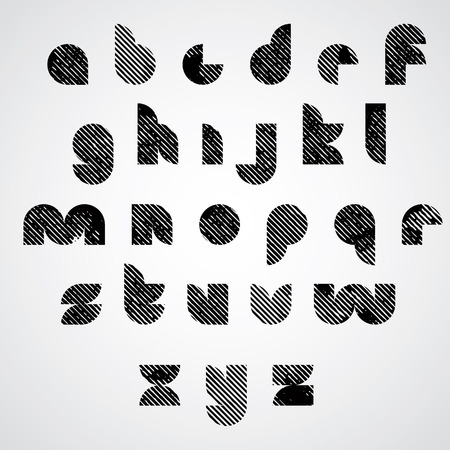 untidy: Grunge black striped lower case letters, decorative hand drawn font.