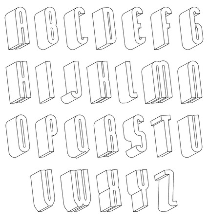 Black And White 3d Font Made With Thin Lines Single Color Simple