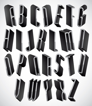 tall: 3d font, thin and tall dimensional letters set, monochrome alphabet for design.