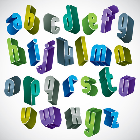 3d colorful letters alphabet, dimensional font in blue and green colors, bright and glossy letters for design and advertising. Illustration
