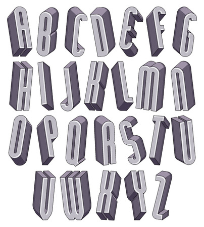 verbs: 3d tall and thin font, monochrome dimensional alphabet, geometric letters for design.