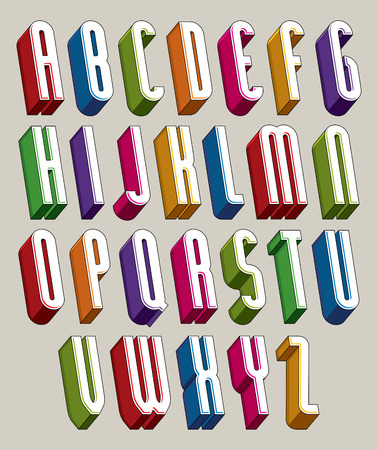 bright alphabet: 3d font, vector tall thin letters, geometric dimensional alphabet made with round shapes, best for use in advertising and web design. Illustration