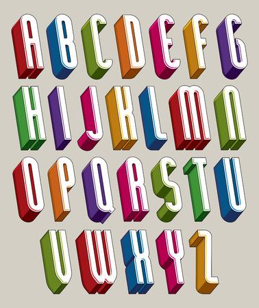 tipos de letras: Fuente 3d, vector cartas altas y delgadas, alfabeto dimensional geom�trico hecho con formas redondas, las mejores para su uso en dise�o publicitario y web.