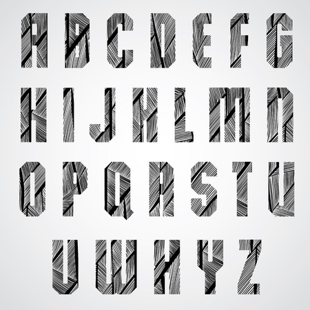 doddle: Geometric shape bold poster letters condensed font with hand drawn lines pattern, sketch funky doddle stylized, drawing texture vector alphabet. Letters designed specially, uppercase set. Illustration