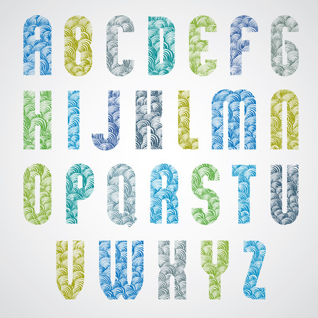Pattern glamorous colorful fashionable font, upper case letters. Vector