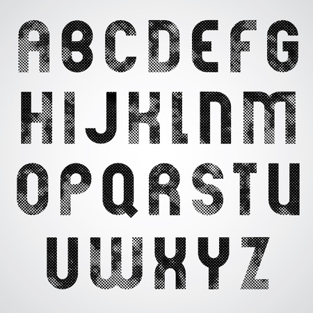 Black dotty graphic upper case letters, industrial font.
