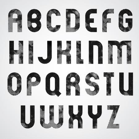 upper case: Black dotty graphic upper case letters, industrial font.