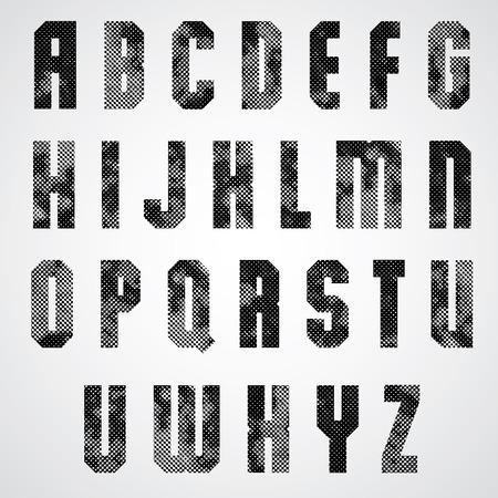 Black and white dotty graphic upper case letters, industrial font. Ilustração