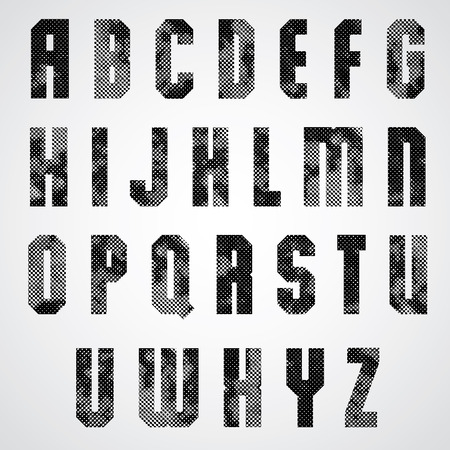 upper case: Black and white dotty graphic upper case letters, industrial font. Illustration