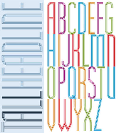 tall: Poster condensed bright font, striped compact tall uppercase letters on white background. Illustration