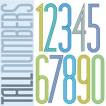 Poster tall colorful striped numbers with equal triple lines on white background.