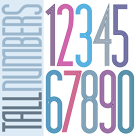 tall: Poster tall colorful striped numbers on white background. Illustration
