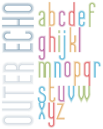 echo: Poster echo light striped font, bright transparent condensed lowercase letters on white background. Illustration