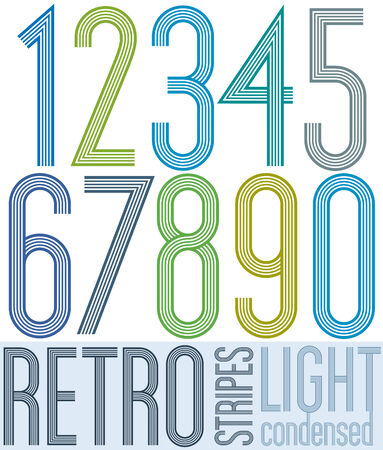 Poster retro condensed colorful light numbers with stripes on white background.