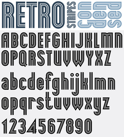 Retro striped black and white font and numbers with outline, bold poster letters. Ilustração