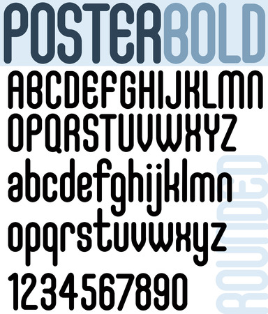 Rounded bold font and numbers on white background, bold poster letters. Ilustração