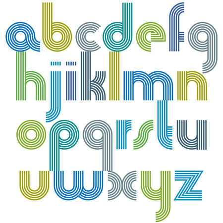 affiche: Colorful lowercase letters with rounded corners, animated spherical striped font.
