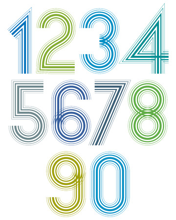 affiche: Bright cartoon striped numbers with rounded corners.
