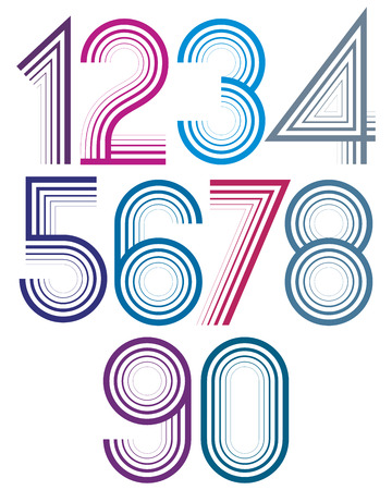 Bright cartoon striped light numbers with rounded corners.
