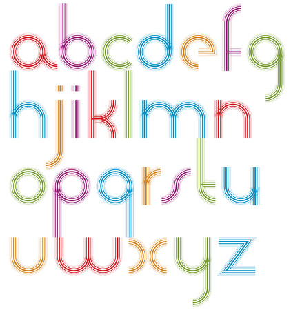 extensive: Rounded light jolly parallel cartoon lowercase letters, striped colorful font on white background.