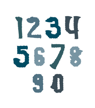 Creative handwritten colorful numbers set from 0 to 10, vector graffiti freak digits isolated on white background. Vector