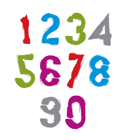 Handwritten colorful vector numbers, stylish numbers set drawn with ink brush. Vector