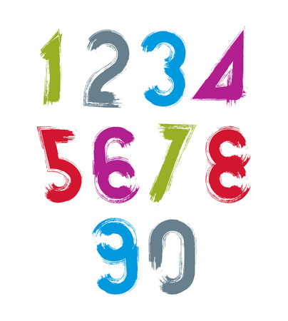 Handwritten contemporary vector digit set, doodle hand-painted numerals. Vector