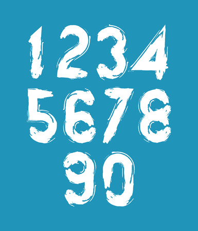 estimating: Calligraphic numbers drawn with ink brush, white vector numbers collection. Illustration