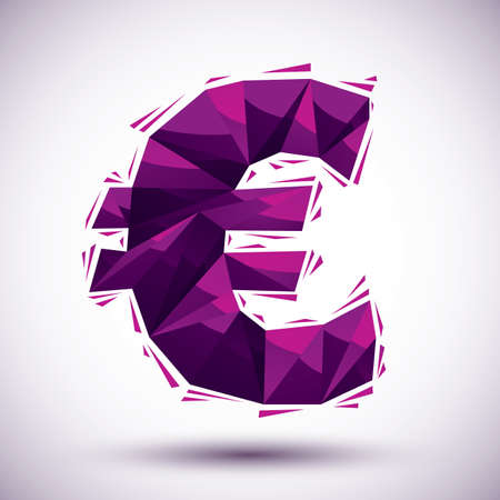 reaches: Violet euro sign geometric icon made in 3d modern style, best for use as symbol or design element. Illustration