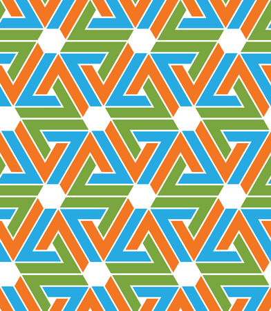 Multicolored abstract textured geometric seamless pattern with hexagons and zigzags. Vector psychedelic textile backdrop. Vector