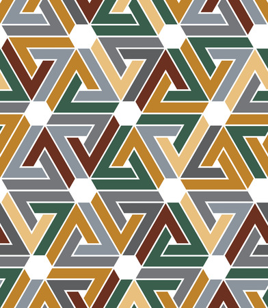 Rhythmic pastel textured endless pattern with hexagons, continuous tartan ethnic geometric background.