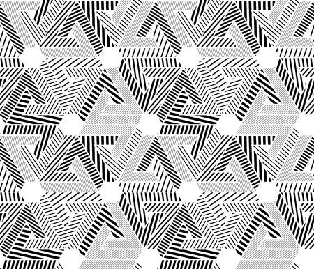 охватывающей: Геометрическая черный и белый бесшовные модели, бесконечные полосатый фон вектор. Монохромный абстрактный покрытие с шестиугольников и треугольников. Иллюстрация