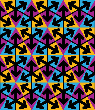 extraordinary: Bright extraordinary geometric seamless pattern with triangles and arrows. Saturated continuous texture, best for graphic and web design.