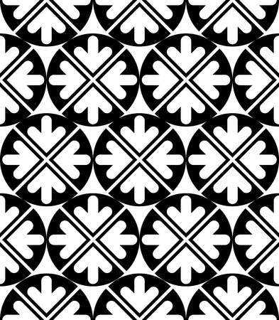 Futuristic black and white extraordinary geometric seamless pattern with symmetric circles and arrows. Contrast continuous texture, best for graphic and web design. Vector