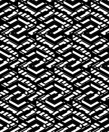 parallelogram: Geometric maze seamless pattern with parallel lines and geometric elements, continuous grunge textile, abstract vector textured covering. Intertwine black and white illustration.