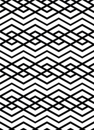 Monochrome geometric art seamless pattern, vector mosaic black and white interweave background. Symmetric illusive artificial backdrop. Illustration