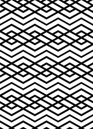 Monochrome geometric art seamless pattern, vector mosaic black and white interweave background. Symmetric illusive artificial backdrop. Illustration