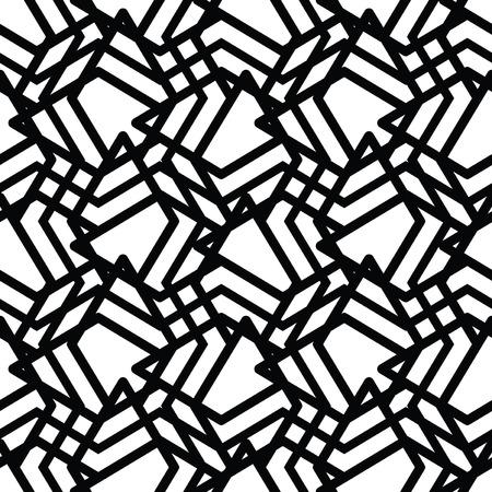 охватывающей: Монохромный грязный бесшовные узор с параллельными линиями, черный и белый бесконечной геометрической мозаики текстильной, абстрактные векторные текстурированные веб-визуального покрытия. Иллюстрация