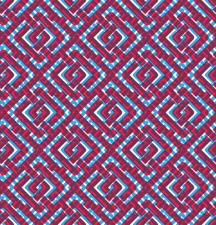 intertwine: Colorful geometric seamless pattern, symmetric endless vector background with intertwine lines. Abstract concept splicing covering.