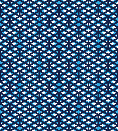 interweave: Blue abstract seamless pattern with interweave lines. Vector overlay wallpaper with geometric figures. Endless decorative background. Ornate backdrop with rhombs. Illustration