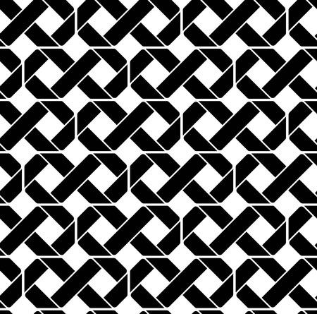 Black and white geometric seamless pattern, symmetric endless vector background. Monochrome abstract crossing concept covering.