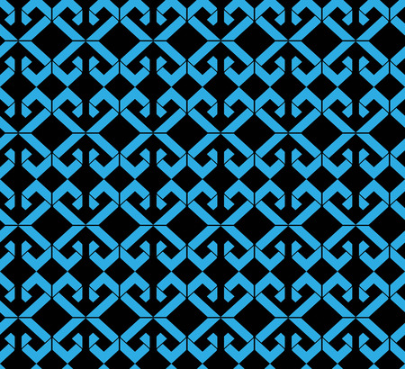 охватывающей: Бесшовные узор с голубой ромбов, черный бесконечной геометрической мозаики текстильной, абстрактные векторные модной покрытия.