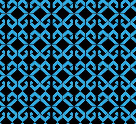 interlace: Seamless pattern con rombi blu, nero infinito mosaico geometrico tessile, astratto copertura alla moda di vettore. Vettoriali