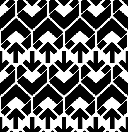 fissure: Seamless pattern with arrows, black and white infinite geometric textile, abstract vector textured visual covering. Monochrome inspired seamless geometric background with arrowheads.
